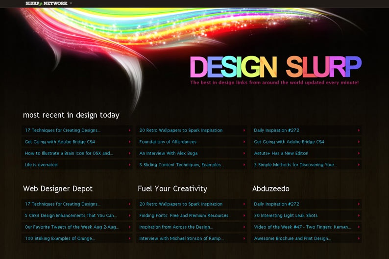 Screenshot on Design Slurp