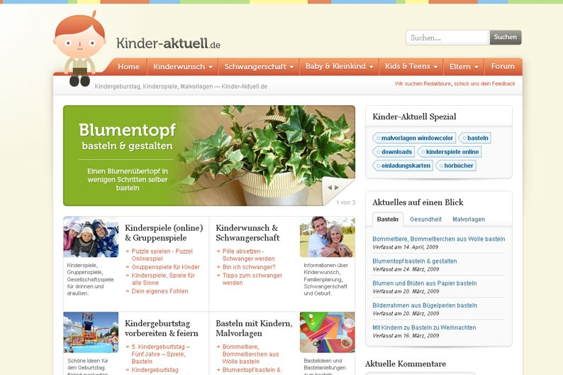 Screenshot on Kinder Aktuell