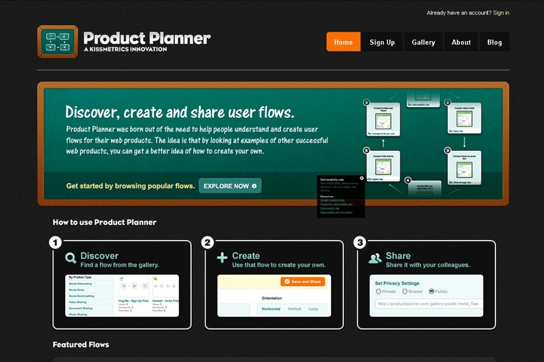 Screenshot on Product Planner