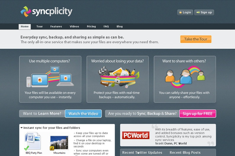 Screenshot on Syncplicity