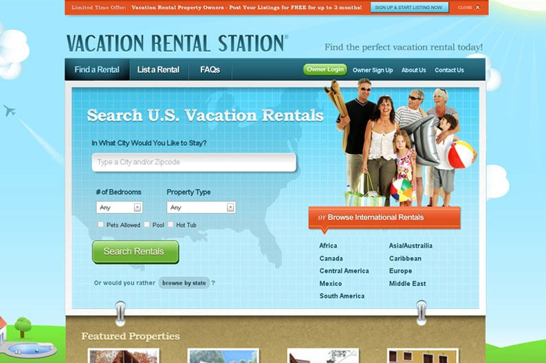 Screenshot on Vacation Rental Station