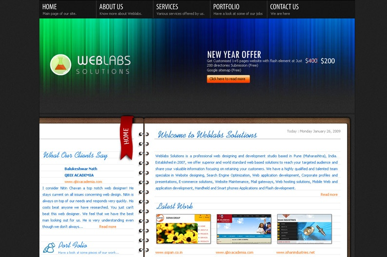 Screenshot on Web Labs Solutions